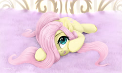 Size: 3000x1800   Tagged: safe, artist:darksly, fluttershy, pegasus, pony, blushing, colored hooves, cute, daaaaaaaaaaaw, female, folded wings, hair over one eye, high res, looking at you, looking up, looking up at you, lying down, mare, open mouth, prone, shyabetes, smiling, solo, sweet dreams fuel, weapons-grade cute, wings