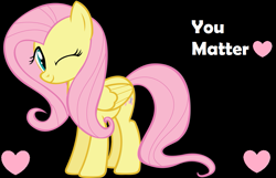 Size: 931x600 | Tagged: safe, artist:gyrotech, artist:twilyisbestpone, derpibooru exclusive, fluttershy, pegasus, pony, black background, cute, heart, one eye closed, positive ponies, shyabetes, simple background, smiling, solo, vector, wink
