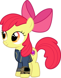 Size: 3000x3811 | Tagged: safe, artist:ponygamer2020, apple bloom, earth pony, pony, fallout equestria, absurd resolution, adorabloom, apple bloom's bow, bow, clothes, cute, cutie mark, fallout, female, filly, hair bow, jumpsuit, pipboy, simple background, solo, the cmc's cutie marks, transparent background, vault suit, vector