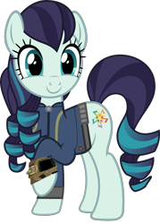 Size: 5000x6969 | Tagged: safe, artist:cheezedoodle96, artist:luckreza8, artist:ponygamer2020, coloratura, earth pony, pony, fallout equestria, the mane attraction, absurd resolution, c:, clothes, cute, fallout, female, happy, jumpsuit, mare, pipboy, png, raised hoof, rara, rarabetes, simple background, smiling, solo, the magic inside, transparent background, vault suit, vector