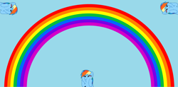 Size: 6088x3000 | Tagged: safe, artist:rainbowplasma, artist:twilyisbestpone, derpibooru exclusive, rainbow dash, pegasus, pony, cute, dashabetes, dashface, duality, female, funny face, hooves on cheeks, light blue background, mare, rainbow, rainbow dash is best facemaker, silly, silly pony, simple background, so awesome, squishy cheeks, vector, wat