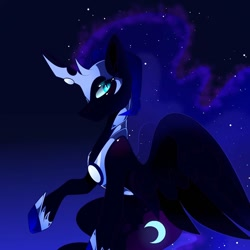Size: 1080x1080 | Tagged: safe, artist:tessa_key_, nightmare moon, alicorn, pony, ethereal mane, female, gradient background, helmet, horn, mare, needs more jpeg, peytral, raised hoof, solo, starry mane, wings