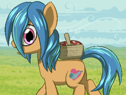Size: 800x600 | Tagged: safe, artist:rangelost, oc, oc only, oc:windcaller, earth pony, pony, cyoa:d20 pony, basket, cloud, grass, looking at you, male, outdoors, png, profile, solo, stallion