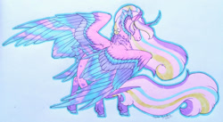 Size: 1920x1049 | Tagged: safe, artist:oneiria-fylakas, princess cadance, alicorn, pony, alternate design, colored wings, curved horn, female, horn, jpg, mare, multicolored wings, neck fluff, solo, tail feathers, traditional art, wings