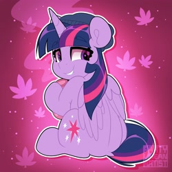 Size: 4000x4000 | Tagged: safe, artist:partylikeanartist, twilight sparkle, alicorn, pony, 420, abstract background, back, beanie, bong, dock, drugs, from behind, hat, high, highlight sparkle, lip bite, looking back, marijuana, simple background, solo, stoned, twilight sparkle (alicorn)