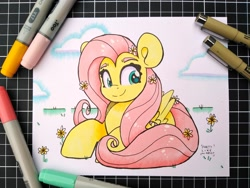 Size: 2048x1536 | Tagged: safe, artist:partylikeanartist, fluttershy, pegasus, pony, copic, flower, flower in hair, markers, photo, simple background, solo, traditional art