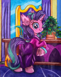 Size: 1280x1606 | Tagged: safe, artist:estrellasombria, starlight glimmer, pony, unicorn, clothes, headmare starlight, skirt, smiling, solo, suit, traditional art