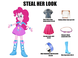 Size: 1380x1040   Tagged: safe, pinkie pie, equestria girls, belt, boots, bow, bracelet, clothes, jacket, jewelry, knee-high boots, meme, prices, shoes, skirt, solo, steal her look, tube top