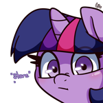 Size: 3000x3000 | Tagged: safe, artist:lou, twilight sparkle, pony, unicorn, bust, female, high res, horn, looking at you, mare, portrait, simple background, solo, stare, white background