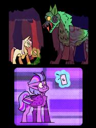 Size: 2625x3500 | Tagged: safe, artist:spudsmcfrenzy, fluttershy, twilight sparkle, pony, timber wolf, cellphone, earth pony fluttershy, magic, pegasus twilight sparkle, phone