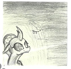 Size: 1003x973 | Tagged: safe, artist:johnerose126, ocellus, changedling, changeling, monochrome, sketch, solo, traditional art