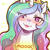 Size: 1159x1159 | Tagged: safe, artist:cold-blooded-twilight, princess celestia, alicorn, blushing, bronybait, bust, crown, cute, dialogue, eye covered by hair, female, full face view, heart, jewelry, looking at you, png, regalia, simple background, smiling, smiling at you, solo, solo female, sparkles, talking to viewer, yoke