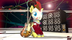 Size: 1920x1080 | Tagged: safe, artist:sky chaser, oc, oc:sky chaser, pegasus, pony, wolf, wolf pony, 3d, beard, facial hair, guitar, hockey mask, mask, musical instrument, rock (music), solo, source filmmaker, speakers