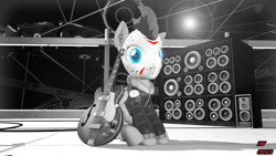 Size: 1920x1080 | Tagged: safe, alternate version, artist:sky chaser, oc, oc:sky chaser, pegasus, pony, wolf, wolf pony, 3d, beard, black and white, facial hair, grayscale, guitar, hockey mask, mask, monochrome, musical instrument, rock (music), solo, source filmmaker, speakers