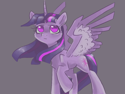 Size: 800x600 | Tagged: safe, artist:smirk, twilight sparkle, alicorn, gray background, looking up, simple background, solo, spread wings, twilight sparkle (alicorn), wings