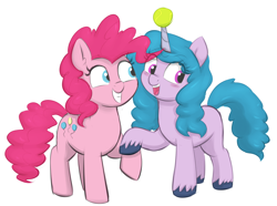 Size: 2250x1674 | Tagged: safe, anonymous editor, artist:heretichesh, color edit, edit, izzy moonbow, pinkie pie, earth pony, pony, unicorn, g4, g5, ball, blushing, colored, cute, diapinkes, duo, female, friendship, happy, holding hooves, horn, horn guard, horn impalement, hornball, izzy's tennis ball, izzybetes, mare, open mouth, png, raised hoof, smiling, tennis ball, unshorn fetlocks