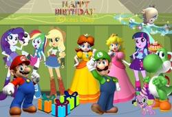 Size: 2653x1811 | Tagged: safe, artist:aaliyah_rosado, artist:sugar-loop, artist:user15432, applejack, rainbow dash, rarity, spike, twilight sparkle, alicorn, dog, human, yoshi, equestria girls, barely eqg related, birthday, birthday cake, birthday gift, birthday present, cake, canterlot high, crossover, female, food, gift box, gift wrapped, hallway, happy birthday, hat, lockers, looking at you, luigi, luigidash, luitwi, male, maridash, mario, mario & luigi, nintendo, party hat, present, princess daisy, princess peach, princess rosalina, raripeach, rosalina, spike the dog, super mario bros., twilight sparkle (alicorn), yoshilight