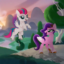 Size: 1600x1600 | Tagged: safe, artist:caliunicalien, pipp petals, zipp storm, pegasus, pony, g5, cloud, colored wings, duo, female, grass, looking back, mare, mountain, multicolored wings, open mouth, raised hoof, shadow, siblings, signature, sisters, tree, unshorn fetlocks, wings