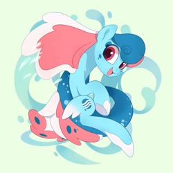 Size: 3000x3000   Tagged: safe, artist:drtuo4, oc, oc only, oc:lyre wave, oc:琴波, original species, sea pony, cute, female, high res, mascot, qingdao brony festival, solo