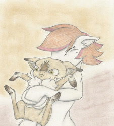 Size: 2329x2574 | Tagged: safe, artist:cindertale, oc, oc only, oc:cinder, deer, earth pony, pony, bust, chest fluff, cute, deer oc, duo, earth pony oc, female, holding a pony, hug, male, mare, traditional art