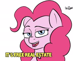Size: 2079x1760   Tagged: safe, artist:datzigga, edit, pinkie pie, earth pony, pony, caption, female, image macro, it's free real estate, jpg, looking at you, mare, meme, open mouth, ponified meme, smiling, solo, text, tim and eric