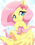 Size: 1337x1695 | Tagged: safe, artist:nendo, fluttershy, pegasus, pony, blushing, bow, cute, daaaaaaaaaaaw, ear bow, female, looking at you, mare, shyabetes, solo, sweat, sweatdrop, underhoof