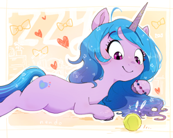 Size: 2030x1615 | Tagged: safe, artist:nendo, izzy moonbow, pony, unicorn, g5, abstract background, ball, bracelet, cute, daaaaaaaaaaaw, female, heart, izzy's tennis ball, izzybetes, jewelry, looking at something, lying down, mare, smiling, solo, tennis ball, that pony sure does love tennis balls, unshorn fetlocks, weapons-grade cute