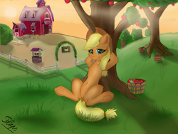 Size: 3984x3000   Tagged: safe, artist:flapstune, applejack, earth pony, pony, apple, apple tree, arm behind head, barn, bucket, dock, female, food, frog (hoof), grass, hat, looking at you, mare, relaxing, signature, sitting, sky, smiling, smiling at you, solo, sun, sweet apple acres, tree, underhoof