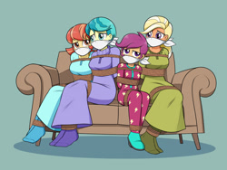 Size: 1600x1200 | Tagged: safe, artist:nivek15, aunt holiday, auntie lofty, mane allgood, scootaloo, equestria girls, bondage, bound and gagged, cloth gag, clothes, couch, equestria girls-ified, footed sleeper, footie pajamas, gag, nightgown, onesie, otn gag, over the nose gag, pajamas, rope, rope bondage, sitting, sleepover, slumber party, socks, tied up