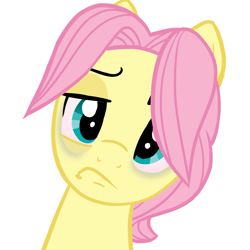 Size: 918x918   Tagged: safe, alternate version, artist:melonmilk, derpibooru exclusive, fluttershy, angry, annoyed, bloodshot eyes, bust, butterscotch, disappointed, disgusted, rule 63, show accurate, solo, tired, upset