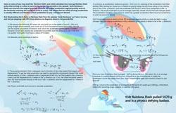 Size: 2200x1420 | Tagged: safe, rainbow dash, pegasus, pony, sonic rainboom (episode), spoiler:maths, artifact, female, flying, mare, math, physics, rainbow trail, sonic rainboom, text