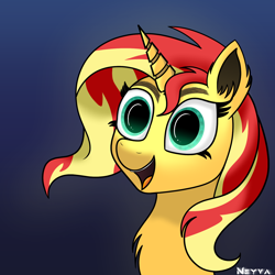 Size: 1474x1474   Tagged: safe, artist:neyvashift, sunset shimmer, pony, unicorn, solo