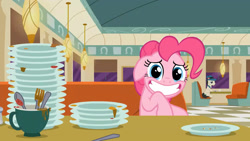 Size: 1280x720   Tagged: safe, screencap, pinkie pie, the saddle row review, solo