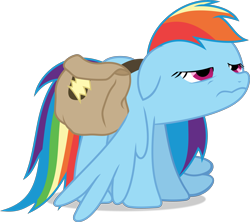 Size: 3371x3000 | Tagged: safe, artist:frownfactory, rainbow dash, pegasus, pony, games ponies play, bag, eyes half closed, faic, female, floppy ears, high res, mare, saddle bag, simple background, solo, transparent background, vector, wings