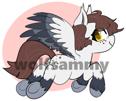 Size: 1710x1379 | Tagged: safe, artist:wolfsam, oc, pegasus, pony, adoptable, adoptable open, auction, character, commission, freckles, link in description, simple background, solo, watermark