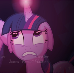 Size: 872x866 | Tagged: safe, screencap, twilight sparkle, pony, unicorn, a canterlot wedding, cropped, floppy ears, glowing horn, horn, opening credits, scared, solo, unicorn twilight