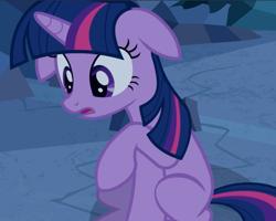 Size: 1082x865 | Tagged: safe, screencap, twilight sparkle, unicorn, a canterlot wedding, cropped, floppy ears, open mouth, sitting, solo, unicorn twilight