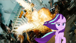Size: 1920x1080 | Tagged: safe, edit, edited screencap, screencap, pony, unicorn, the ending of the end, badass, bayformers, cool guys don't look at explosions, death, decepticon, explosion, frown, michael bay, paramount pictures, starlight glimmer in places she shouldn't be, starscream, transformers, transformers dark of the moon
