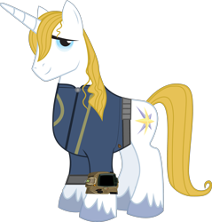 Size: 3268x3414 | Tagged: safe, artist:ponygamer2020, prince blueblood, pony, unicorn, fallout equestria, absurd resolution, clothes, fallout, jumpsuit, male, pipboy, simple background, solo, stallion, transparent background, vault suit, vector