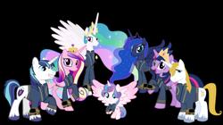 Size: 5360x3008 | Tagged: safe, artist:alandssparkle, artist:andoanimalia, artist:ponygamer2020, artist:sakatagintoki117, prince blueblood, princess cadance, princess celestia, princess flurry heart, princess luna, shining armor, twilight sparkle, alicorn, pony, unicorn, fallout equestria, absurd resolution, alicorn pentarchy, alicorn tetrarchy, alicorn triarchy, clothes, crown, fallout, female, filly, filly flurry heart, group, jewelry, jumpsuit, looking at you, male, mare, older, older flurry heart, pipboy, regalia, royal sisters, royalty, siblings, simple background, sisters, smiling, smiling at you, transparent background, twilight sparkle (alicorn), vault suit, vector