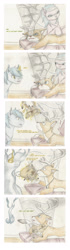 Size: 1296x4623 | Tagged: safe, artist:cindertale, aloe, oc, oc:cinder, alicorn, deer, earth pony, pony, reindeer, alicorn oc, antlers, chest fluff, comic, deer oc, dialogue, ear fluff, female, glowing horn, horn, magic, male, mare, smiling, stallion, telekinesis, traditional art, wings