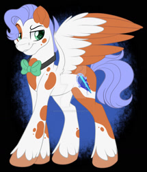 Size: 1600x1860 | Tagged: safe, artist:missmele-madness, oc, oc:blurple bean, pegasus, pony, bowtie, male, solo, stallion, two toned wings, wings