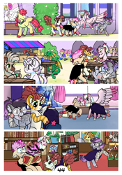 Size: 2100x3000 | Tagged: safe, artist:loryska, li'l cheese, princess flurry heart, oc, oc:clarabelle, oc:conundrum solar flare, oc:niko, oc:plumeria, dragon, hybrid, pony, zebra, zony, comic:friendship grows, the last problem, magic, offspring, parent:derpy hooves, parent:doctor whooves, parent:quibble pants, parent:rainbow dash, parents:doctorderpy, parents:quibbledash, stained glass