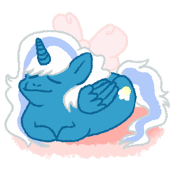 Size: 500x500   Tagged: safe, artist:hilowpeoples, oc, oc:fleurbelle, alicorn, acting like a cat, alicorn oc, bow, catloaf, female, hair bow, horn, mare, simple background, transparent background, wings