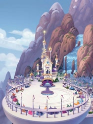 Size: 768x1024   Tagged: safe, artist:laura bifano, my little pony: the movie, the art of my little pony: the movie, background, canterlot, canterlot castle, canterlot mountain, castle, city, cloud, concept art, digital art, female, festival of friendship, mare, mountain, scenery, scenery porn, waterfall