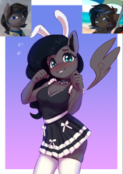 Size: 732x1033 | Tagged: safe, artist:dukevonkessel, artist:mrscroup, artist:trickate, edit, oc, oc:boreal bloom, pegasus, anthro, adorasexy, bare shoulders, blushing, bow, breasts, bunny ears, butt, choker, cleavage, clothes, cute, daaaaaaaaaaaw, dress, embarrassed, female, floating wings, looking at you, maid, miniskirt, necktie, ocbetes, rule 63, rule63betes, schrödinger's pantsu, sexy, skindentation, skirt, smiling, socks, solo, tanktop, thigh highs, thighs, wings, zettai ryouiki