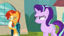 Size: 1920x1080 | Tagged: safe, screencap, starlight glimmer, sunburst, pony, unicorn, the parent map, cloak, clothes, eyes closed, female, glasses, laughing, male, mare, stallion, sunburst's cloak, sunburst's glasses