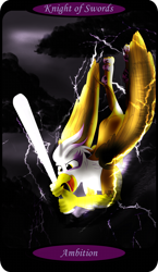 Size: 1500x2591 | Tagged: safe, artist:sixes&sevens, part of a set, gilda, griffon, baseball bat, cloud, electricity, female, flying, grin, knight of swords, lightning, minor arcana, smiling, solo, storm, tarot card