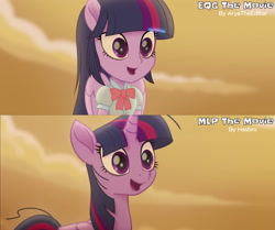Size: 3725x3120 | Tagged: safe, artist:aryatheeditor, screencap, twilight sparkle, alicorn, pony, equestria girls, my little pony: the movie, bowtie, clothes, comparison, cute, desert, digital art, equestria girls interpretation, excited, female, high res, human and pony, magical geodes, mare, movie, movie accurate, movie reference, open mouth, outfit, ponied up, pony ears, scene interpretation, screencap reference, shirt, twiabetes, twilight sparkle (alicorn), wings