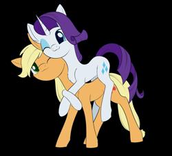Size: 1741x1573   Tagged: safe, artist:dusthiel, applejack, rarity, earth pony, pony, unicorn, cute, female, jackabetes, lesbian, lesbian applejack, lesbian rarity, ponies riding ponies, raribetes, rarijack, rarity riding applejack, riding, shipping, simple background, transparent background